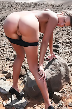 Naked Maria At The Barren Landscape