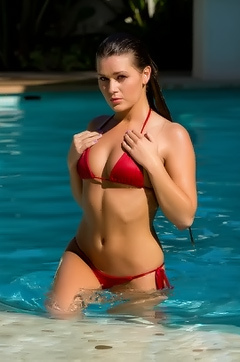 Abby Cross Red Bikini
