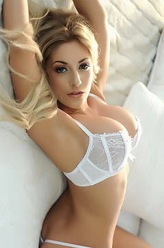 Ashley Emma In White Lingerie