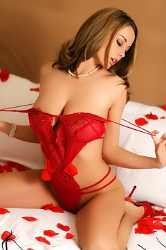 Anita Dark Posing In Sexy Red Lingerie