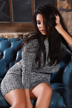 Charley Teasing In Her Sexy Gray Dress