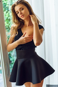 Skinny Babe Kalisy in Black Skirt