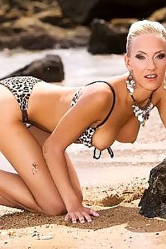 Justine Ashley on sandy beach