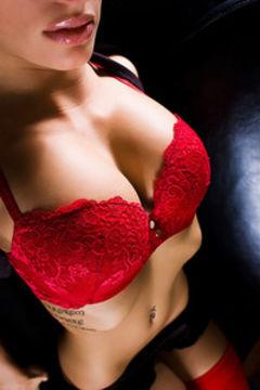 Angelina Valentine red bra