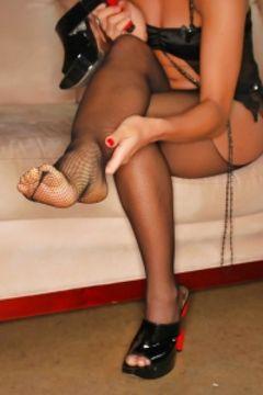Midori West feet in stockings