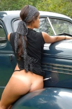 Lola in vintage car