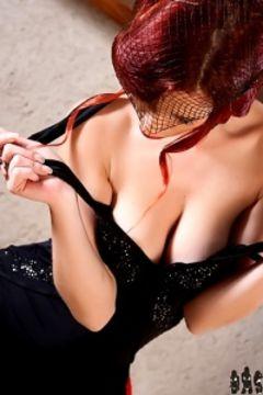 Redhead Ariel black dress