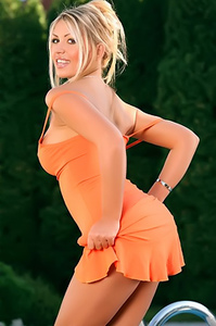 Anette Dawn Strips Off Her Orange Dress