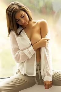 Nina North Takes Off Her Shirt