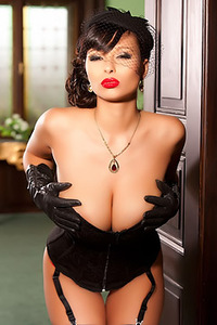 Busty Dominno In Very Sexy Black Lingerie